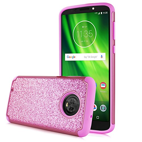 Moto G6 Case, Moto G (6th Generation) Case, Glitter Shock Proof Edge  Scratch Shield Hybrid Layers Bumper Slim Cover Screen Film Motorola Moto G6  5 7