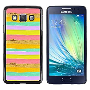 Paccase / SLIM PC / Aliminium Casa Carcasa Funda Case Cover para - Lines Stripes Horizontal Bright Pink Yellow - Samsung Galaxy A3 SM-A300