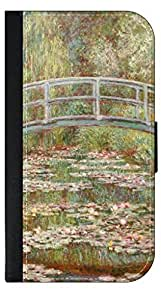 Claude Monet-Bridge Over A Pond Of Water Lilies- Wallet Case for the Apple Iphone 6 only Universal with a Flap Cover and Magnetic Closing Flap-PU Leather and Suede