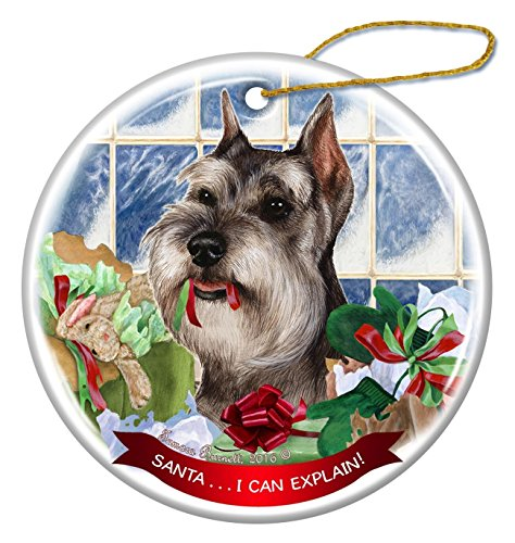 Grey Cropped Schnauzer Dog Porcelain Hanging Ornament Pet Gift 'Santa.. I Can Explain!' for Christmas Tree and Year Round ()