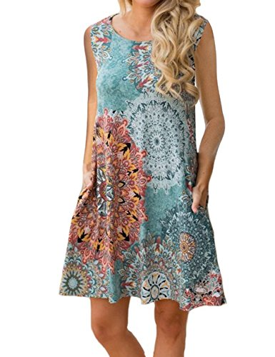 Sanifer Women's Casual Summer Floral Sundresses Sleeveless Tunic Dresses Tank Dresses with Pockets (Large, Dark Green) (Cool Dress Summer)