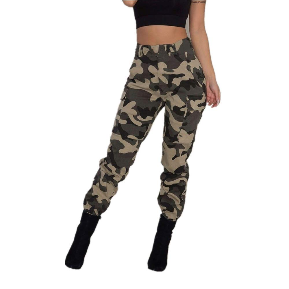 5fad7e2fa0406 JOFOW Womens Pencil Pants, Casual Camo High Waist Belted Tie Loose Tunic  Camouflage Cool Military Army Green Trousers at Amazon Women's Clothing  store: