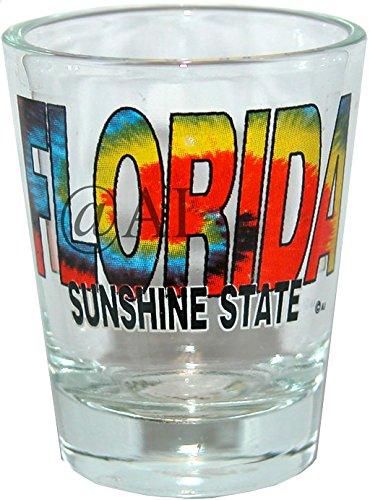 (Florida Name Tie dye - FLORIDA SOUVENIR GIFT SHOT GLASS. DISHWASHER & MICROWAVE SAFE GLASS. 1201FL)