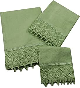 jenny sage green 3 piece towel set bath towel hand towel wash cloth with macrame. Black Bedroom Furniture Sets. Home Design Ideas