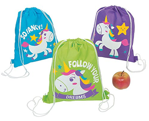 (12 Unicorn Drawstring Backpacks Goody Bag Party Favor Lot Magical Horse)
