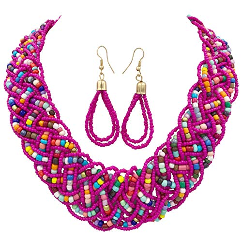 Gypsy Jewels Wide Braided Seed Bead Multi Strand Statement Necklace & Earrings Set (Dark Pink Multi Color)