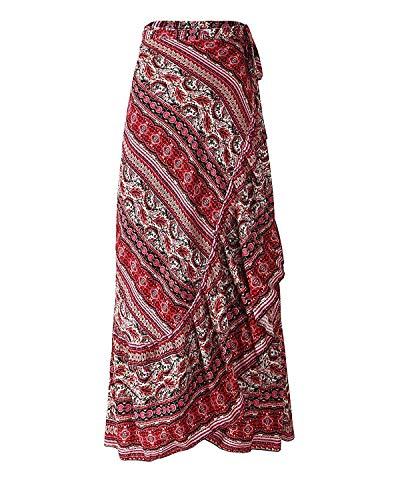 KENGURU COVE Women's Long Bohemian Hippie Skirt Boho Dresses Elephant One Size Asymmetric Hem Design(Red,One Size)