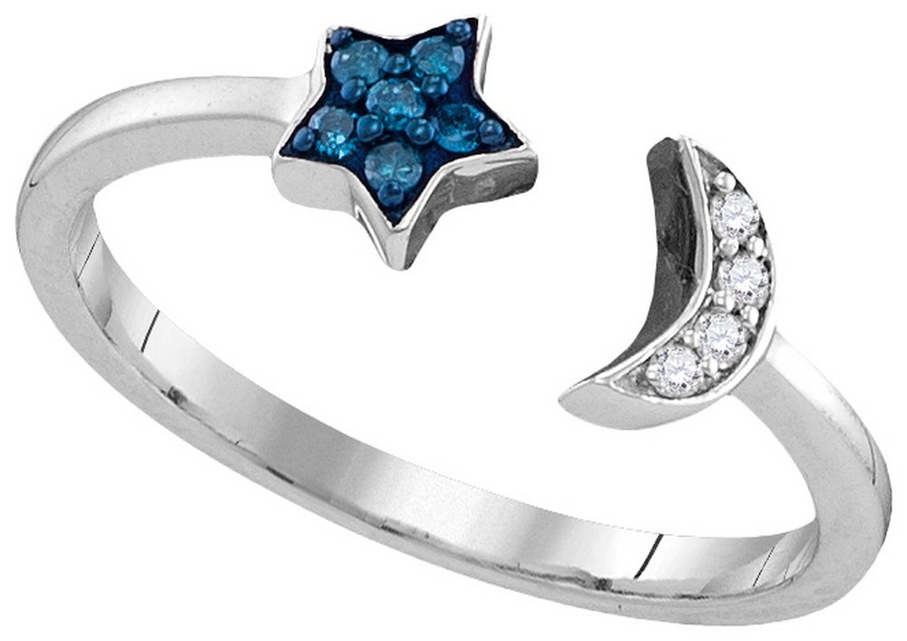 Size - 6 - Solid 925 Sterling Silver Round Blue And White Diamond Channel Set Moon & Star Fashion Ring (1/10 cttw)