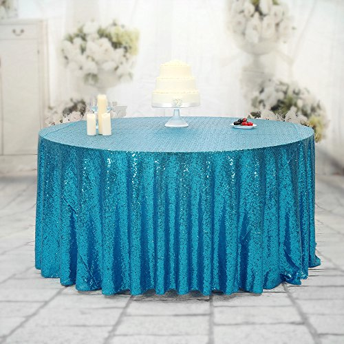 Light Blue Elegance Round Tablecloth (Turquoise PartyDelight Sequin Tablecloth, Round, 50