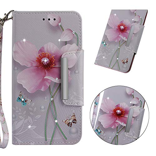 Yobby iPhone 6 Plus Wallet Case,iPhone 6S Plus Case Glitter Diamond Printed Pattern Slim PU Leather Flip Cover with Card Holder Hand Strap Stand Magnetic Shockproof Shell-Pink Flower
