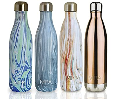 MIRA Vacuum Insulated Travel Water Bottle | Leak-proof Double Walled Stainless Steel Cola Shape Sports Water Bottle | No Sweating, Keeps Your Drink Hot & Cold | 25 Oz (750 ml)