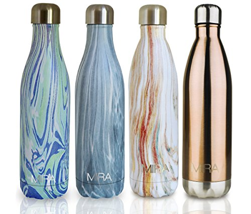 MIRA Vacuum Insulated Travel Water Bottle | Leak-proof Double Walled Stainless Steel Cola Shape Sports Water Bottle | No Sweating, Keeps Your Drink Hot & Cold | 25 Oz (750 ml) | Blue Granite