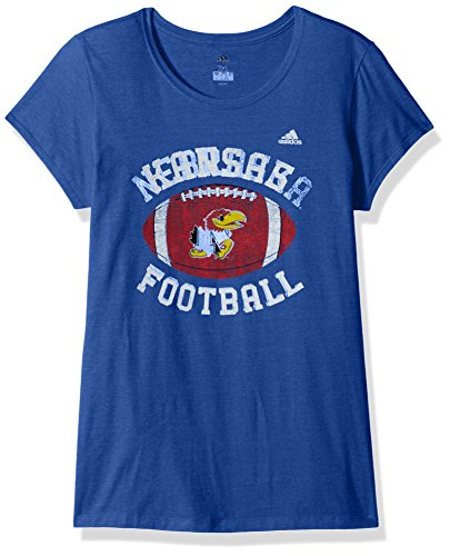NCAA Kansas Jayhawks Adult Women Gameday Double Arch Cap Sleeve Tee, Large, Black Heathered