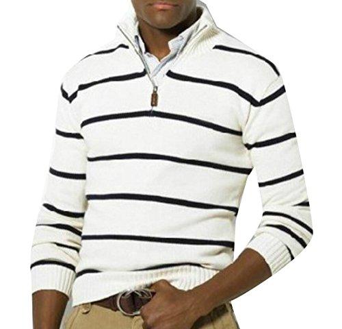 Alion Men's Loose Striped Print Half Zip Sweater Pullover White (Half Zip Striped Sweater)