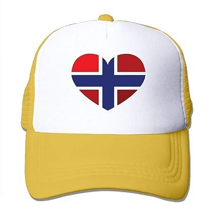 Voxpkrs Bandera Noruega en Forma de corazón Ajustar Las Gorras de béisbol Gorra perseguidor Sombrero de