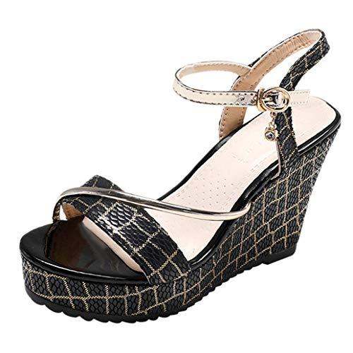 Loosebee Women's Peep Toe Ankle Strap Buckle Wedge Sandals
