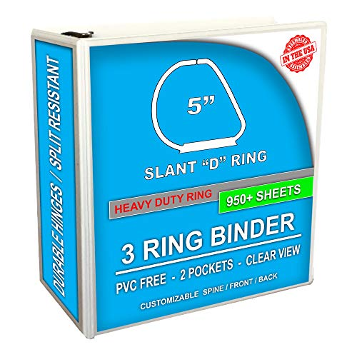 3 Ring Binder, Professional D Ring Binder 5 Inch, Presentation Folder for Pages 8.5 x 11 With Pockets, Clear View White Binder