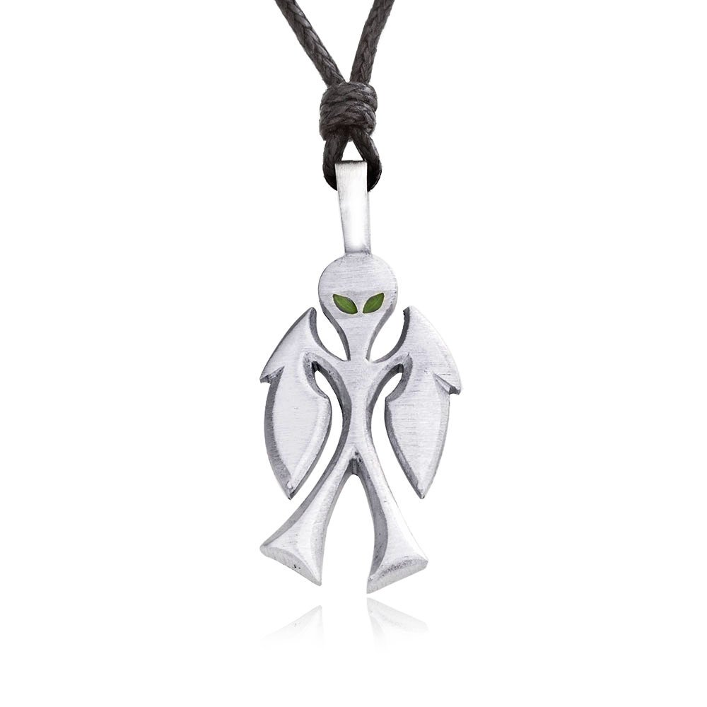 Dan's Jewelers Green Eyed Alien Pendant Necklace + Silver Plated Clasp, Fine Pewter Jewelry