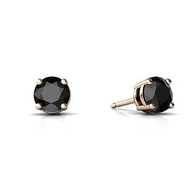 59db039f9 Amazon.com: 14kt Rose Gold Black Onyx 5mm Round Round Stud Earrings: Jewelry