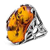 Amber and Sterling Silver Oval Ring