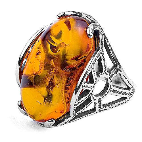 Cat Sterling Silver Key Ring - Amber and Sterling Silver Oval Ring