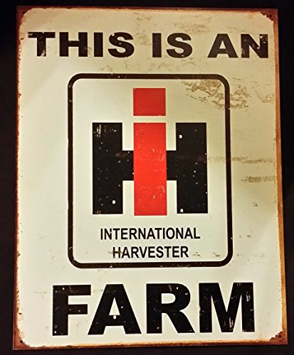 This is an IH Farm Distressed Retro Vintage Tin Sign Tin Sign , 13x16 by Poster Discount