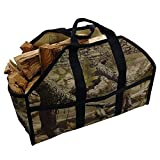 Grillinator Ultimate Firewood Log Carrier - Camo - Heavy Duty Durable Tote Bag for Wood - Self Standing Design with Padded Handles - 16 Gallon Capacity for Fireplace, Beach & Groceries