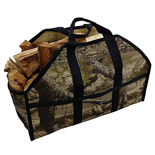 Camo Canvas Tote Bag (Grillinator Ultimate Firewood Log Carrier - Camo - Heavy Duty Durable Tote Bag for Wood - Self Standing Design with Padded Handles - 16 Gallon Capacity for Fireplace, Beach & Groceries)