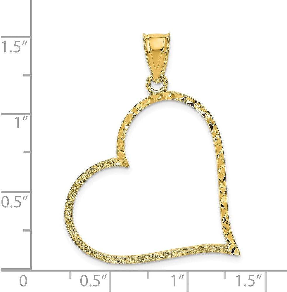 14k Yellow Gold Satin Diamond-cut Large Reversible Heart Pendant 38mm Length