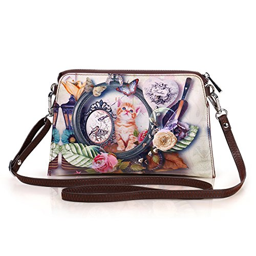 APHISON Women's Leather Zipper Wristlet Small Crossbody Bag Wallets Cowhide Painting Card Clutch Holder Purse (3) by APHISON (Image #2)