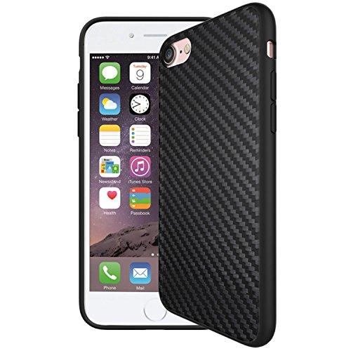 Funda iPhone 7, Airart primera calidad delgado del estilo del negocio de TPU cubierta de la caja a prueba de golpes con fibra de carbono de nuevo diseño del patrón para el Apple iPhone 7 4,7 - Negro Schwarz