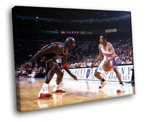 H5 Allen Iverson vs Michael Jordan 76ers NBA Basketball Framed Canvas Print