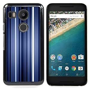 Queen Pattern - FOR LG Google Nexus 5X - Stripes Neon Blue Light Wallpaper Lines - Cubierta del caso de impacto con el patr???¡¯???€????€????&su