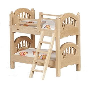Melody Jane Dollhouse 1:24 Scale Bunk Beds Unfinished Bare Wood Miniature  Furniture
