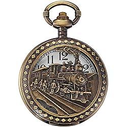 AMPM24 Skeleton Men's Steam Train Copper Dangle Pendant Quartz Pocket Watch with Chain WPK100