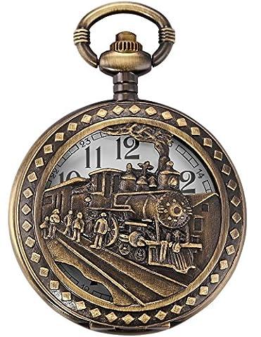 AMPM24 Skeleton Men's Steam Train Copper Dangle Pendant Quartz Pocket Watch with Chain WPK100 (Men Antique Watch)