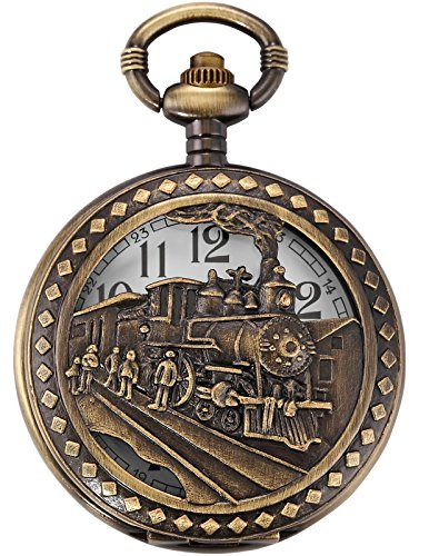 AMPM24 Skeleton Men's Steam Train Copper Dangle Pendant Quartz Pocket Watch with Chain WPK100