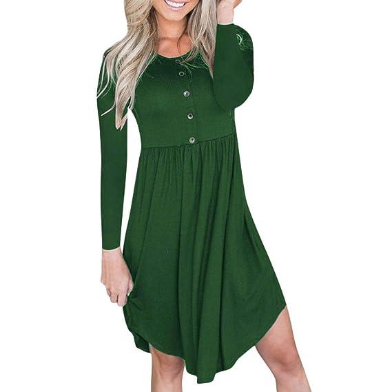 kingko Damen Langarm Stretch Casual Loose T-Shirt Kleid Cocktailkleid Elegantes Kleid