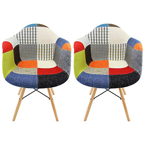 DL furniture - (Set of 2) Multi-Color Modern Eames Style Fabric Armchair with Solid Wood Legs for Living Bedroom Kitchen | Multi-Color