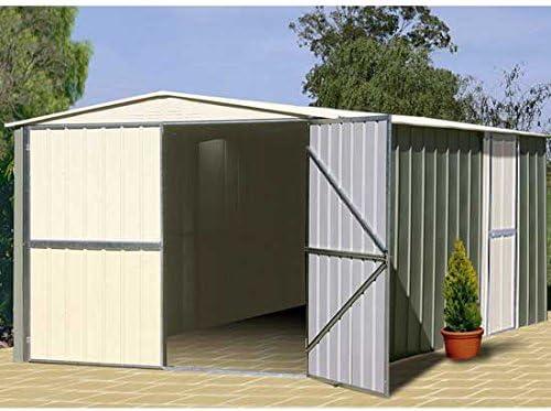 Garaje de metal o gran durabilidad, 16 m, color gris: Amazon.es: Jardín
