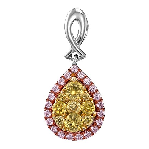 14kt White Gold Womens Round Yellow Pink Diamond Teardrop Cluster Pendant 1/2 Cttw (Gold Drop Necklace Cluster 14kt)