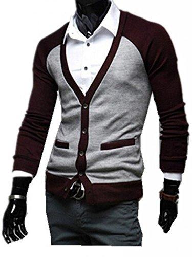 MINID Knitwear slim V-neck Cardigan Sweater(KSL03)- Medium gray and winered