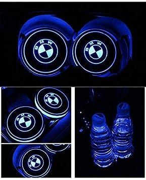 PRXD Lot de 2 Coussinets de Protection pour Voiture LED 7 Couleurs Changing USB Charging Mats Bottle Coasters Car Atmosphere Jaguar