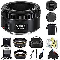 Canon EF 50mm f/1.8 STM Lens + Pixi-Pro Accessory Bundle