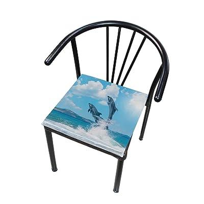 Bardic FICOO Home Patio Chair Cushion 3D Dolphin Square Cushion Non-Slip Memory Foam Outdoor Seat Cushion, 16x16 Inch: Home & Kitchen