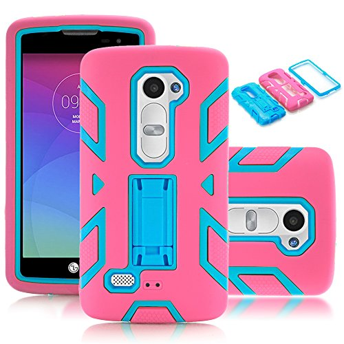 LG Leon / Tribute 2 / C40 / LS665 / Destiny L21G / Power L22C / Risio Case,Kmall 3in1 Heavy Duty Hybrid Dual Layer Full-Body Shockproof Protective Kickstand Skin Cover Shell For LG C40 Hot Pink/Teal