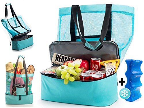 Beach Tote Bag with Insulated Cooler include FREE Ice Pack. Durable and Lightweight Canvas Fabric. One Mesh Beach Bag is all you need for a sunny day at the Beach, - Bag Beach Warehouse