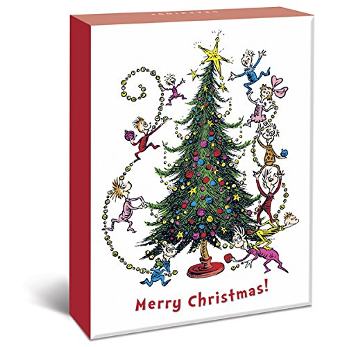 Graphique Dr. Seuss Christmas Assorted Boxed Cards - 20 Seussian Christmas Cards in 4 Designs & Embellished with Glitter, Holiday Cards Includes Matching Envelopes and Storage Box, 4.25
