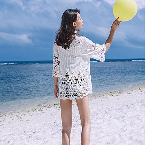 Bikini Beachwear Girocollo Svuotare Pizzo Estate Floreale color uncinetto Donne Coprire Per le white dwCCxRqO