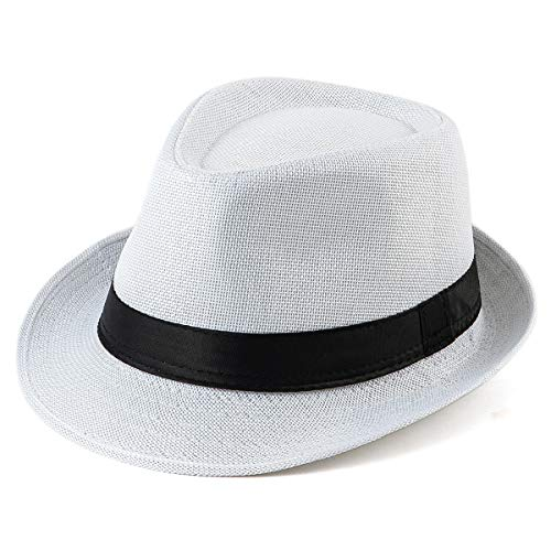 - Beach Hats Sun Hat Men - White Straw Fedora Hat Mens Hats for Women Hats Summer